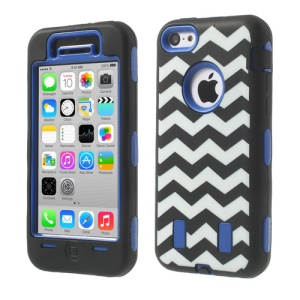 For iPhone 5c PC & Silicone Impact-resistant Robot Combo Shell Wave Pattern - Dark Blue