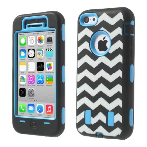 For iPhone 5c PC & Silicone Impact-resistant Robot Combo Shell Wave Pattern - Light Blue