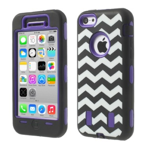 For iPhone 5c PC & Silicone Impact-resistant Robot Combo Shell Wave Pattern - Purple