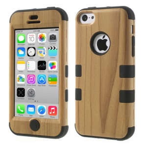 Black for iPhone 5c 3 in 1 Silicone & Plastic Combo Case Wood Pattern