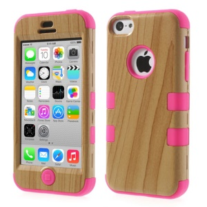 Hot Pink for iPhone 5c 3 in 1 Silicone & Plastic Combo Cover Wood Pattern