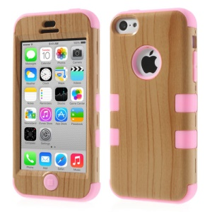 Pink Wood Pattern 3 in 1 Silicone & Plastic Shield Shell for iPhone 5c