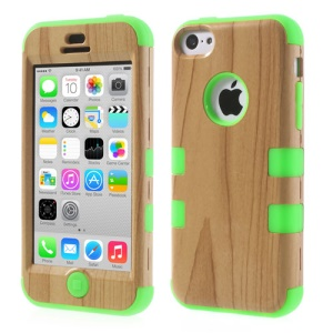Green Wood Pattern 3 in 1 Silicone & Plastic Shell Case for iPhone 5c