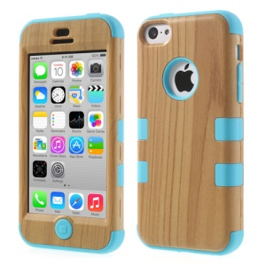 Blue Wood Pattern 3 in 1 Silicone & Plastic Hybrid Case for iPhone 5c