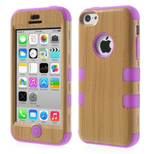Purple 3 in 1 Wood Pattern Silicone & Plastic Hybrid Cover for iPhone 5c