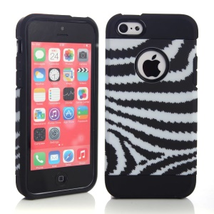 2 in 1 Black & White Strips Pattern PC & TPU Hybrid Case for iPhone 5c