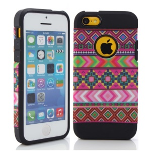 Rose Tribal Tribe Pattern PC & TPU Hybrid Shell for iPhone 5c
