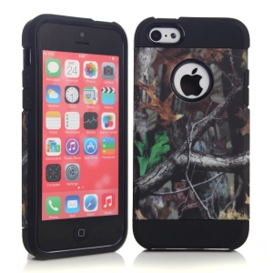 Grey Branch & Two Leaves Pattern for iPhone 5c PC & TPU Hybrid Case