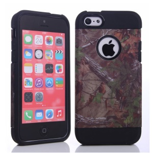 Brown Branch & Many Leaves Design for iPhone 5c PC & TPU Combo Cover