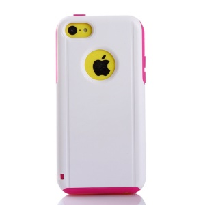 Shockproof Drop-resistant PC + TPU Shield Case for iPhone 5c - Rose / White