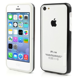 Backless PC + TPU Frame Bumper Case for iPhone 5C - White / Black