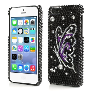 Vivid Butterfly Bling Bling Rhinestone Hard Plastic Case Cover for iPhone 5C
