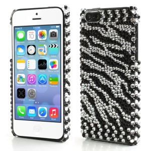 Sparkling Diamond Zebra Stripe Hard Back Case for iPhone 5C