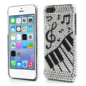 Piano Musical Notation Twinkling Rhinestone Plastic Case Cover for iPhone 5C