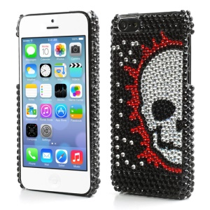 Black Skull Heads Sparkling Diamante Case Cover for iPhone 5C