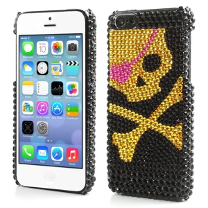 Cool Skeleton Twinkling Rhinestone Hard Plastic Case Cover for iPhone 5C