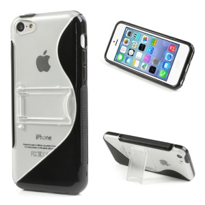 Black S Curve TPU & Plastic Stand Case for iPhone 5C