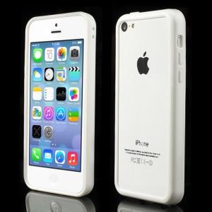 White Plastic & TPU Hybrid Bumper for iPhone 5C