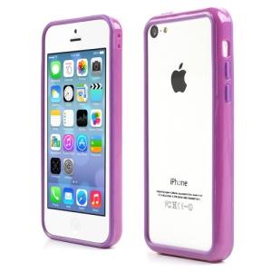 Purple for iPhone 5C Plastic & TPU Hybrid Bumper Case
