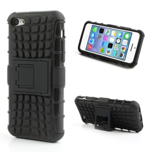 Rugged Anti-slip Plastic & TPU Hybrid Case for iPhone 5C w/ Stand - Black