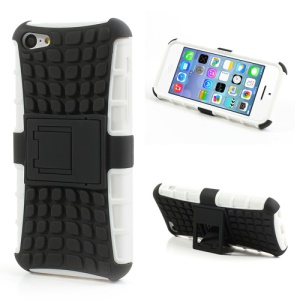 Rugged Anti-slip Plastic & TPU Hybrid Cover for iPhone 5C w/ Stand - Black / White