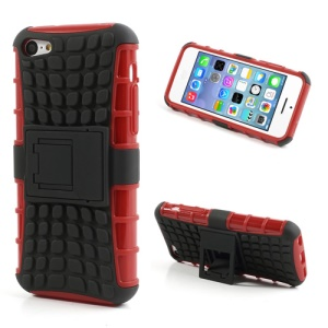 For iPhone 5C Rugged Anti-slip Plastic & TPU Hybrid Cover w/ Stand - Black / Red