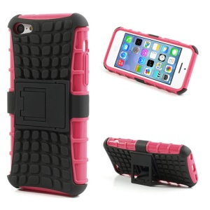 For iPhone 5C Rugged Anti-slip Plastic & TPU Hybrid Shell w/ Stand - Black / Rose