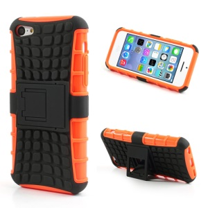 For iPhone 5C Rugged Anti-slip Plastic & TPU Hybrid Shell w/ Stand - Black / Orange