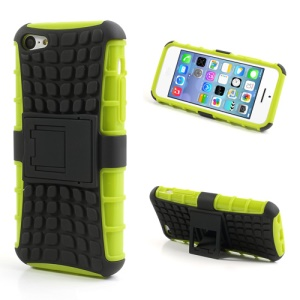 For iPhone 5C Rugged Anti-slip Plastic & TPU Hybrid Shell w/ Stand - Black / Green