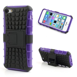 For iPhone 5C Anti-slip Plastic & TPU Combo Robot Case w/ Stand - Black / Purple