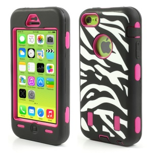 Zebra Stripe PC & Silicone Protective Hybrid Case for iPhone 5c - Rose