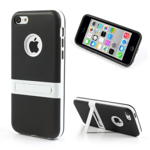 Black for iPhone 5c Detachable Matte TPU and PC Hybrid Case w/ Stand