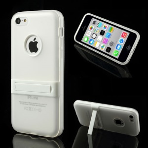 Transparent for iPhone 5c Detachable Matte TPU & PC Hybrid Cover w/ Stand