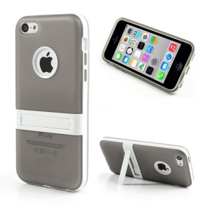 Grey for iPhone 5c Detachable Matte TPU & PC Hybrid Cover w/ Stand