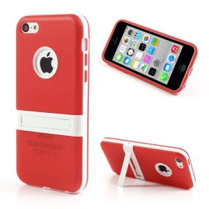 Red for iPhone 5c Detachable Matte TPU & PC Hybrid Cover w/ Stand