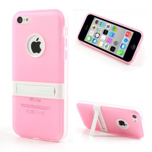 Pink for iPhone 5c Detachable Matte TPU & PC Hybrid Cover w/ Stand