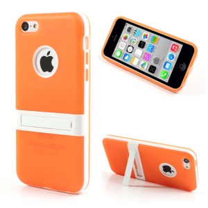 Orange for iPhone 5c Detachable Matte TPU & PC Hybrid Shell w/ Stand