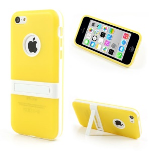 Yellow for iPhone 5c Detachable Matte TPU & PC Hybrid Shell w/ Stand