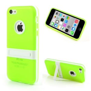 Green Detachable Matte TPU & PC Hybrid Shell for iPhone 5c w/ Stand