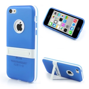 Blue Detachable Matte TPU & PC Hybrid Case for iPhone 5c w/ Stand