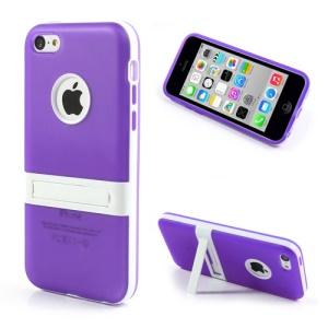 Purple Detachable Matte TPU & PC Hybrid Case for iPhone 5c w/ Stand