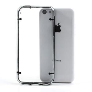 Black for iPhone 5c Glossy Transparent PC & TPU Hybrid Case