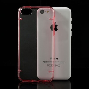 Red for iPhone 5c Noctilucent Glossy Transparent PC & TPU Hybrid Cover