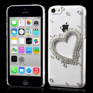 Sparkling Rhinestone Heart Crystal Case for iPhone 5c