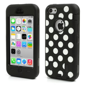 Polka Dots 3 in 1 Silicone & PC Heavy-duty Combo Case for iPhone 5c - Black