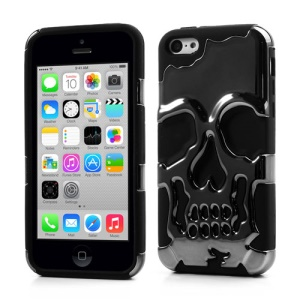 For iPhone 5c PC & Silicone Hybrid Case Electroplating Skull Design - Black
