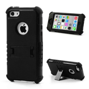 3 Piece PC & Silicone Defender Stand Cover for iPhone 5c - Black
