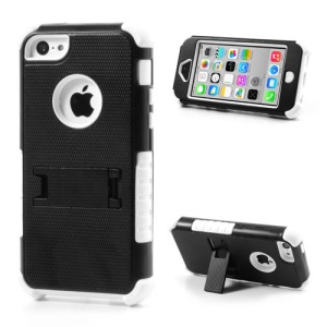 3 Piece PC & Silicone Defender Stand Cover for iPhone 5c - Black / White