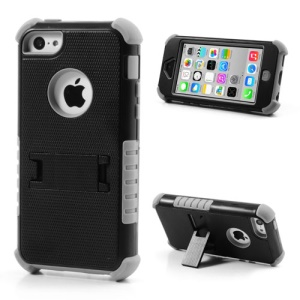 3 Piece PC & Silicone Defender Stand Cover for iPhone 5c - Black / Grey