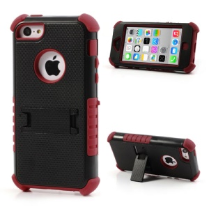 3 Piece PC & Silicone Defender Stand Case for iPhone 5c - Black / Red